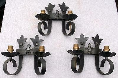 3 Matching Vintage French Wrought Iron Gothic Wall Lights Sconces