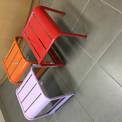 3 Replica Fermob Luxembourg Small Bench / Footstool, Sokol ,Orange Pink & Red