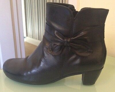 Hotter Black Leather Ankle Boots Uk Size 7 Immaculate