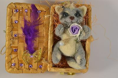 OOAK needle felted Handmade gray cat sculpture artist miniature toy doll house