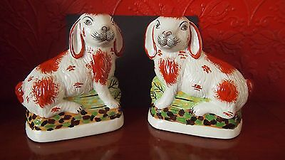 Pair of 'Staffordshire' Style Decorative Rabbits