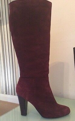 Burgundy Suede Leather Knee Boots Uk Size 5 Worn Once