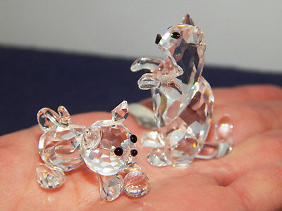 GORGEOUS Swarovski Crystal Cats Begging & ball play *retired* Mint cond. no box