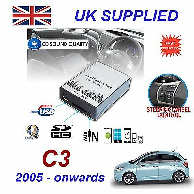 For Citroen C3 MP3 SD USB CD AUX Input Audio Adapter Digital CD Changer Module
