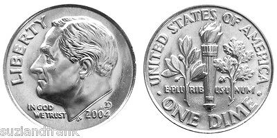 2004-D  Roosevelt Dime - Free Shipping - US - AU - Uncirculated - Business Clad