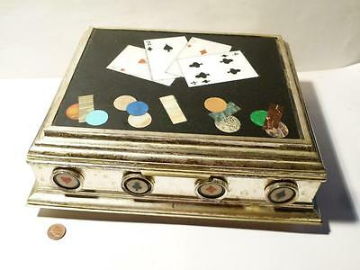 20thC Italian PIETRA DURA Mounted Silver Plate GAMES BOX Playing Cards Suits