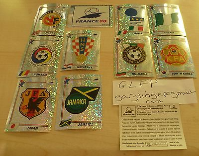 Panini France 98 stickers * 10 Different Badges * foils World Cup Original