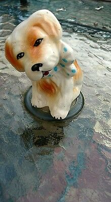VINTAGE  Kitsch dog with bow