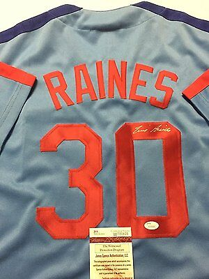 Autographed/Signed TIM RAINES Montreal Expos Blue Baseball Jersey JSA COA Auto