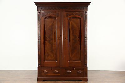 Victorian Renaissance Antique 1880's Walnut Armoire, Closet or Wardrobe