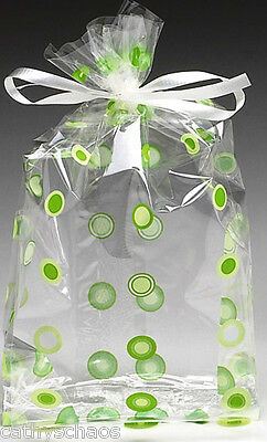 Lot 50 Cello Cellophane Green Circles Polka Dots Candy Easter Party Gift Bags
