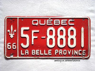 1966 QUEBEC Vintage License Plate # 5F-8881