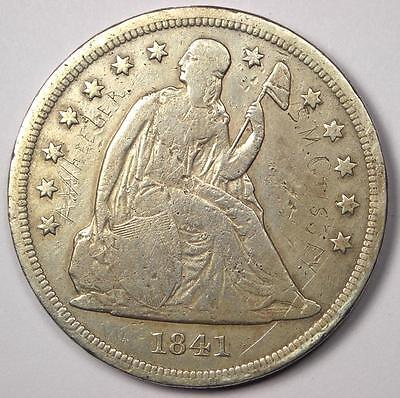 1841 Seated Liberty Silver Dollar $1 - Fine Details - Rare Early Type Coin!