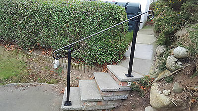 Wrought Iron Handrail Metal Bannister Stair Rail With Two Posts