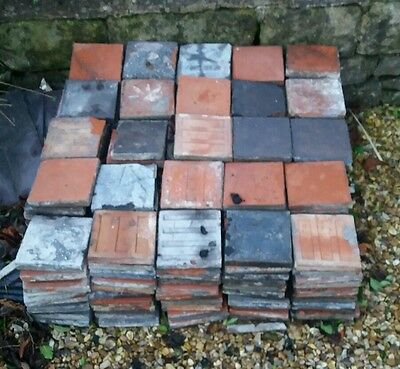 Reclaimed Victorian Quarry Tiles Black & Red Approximately 250 in total
