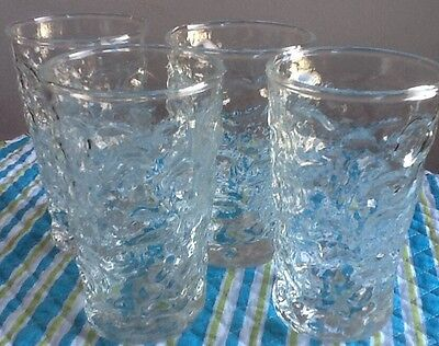 4 Clear Crinkle Glass MILANO LIDO Anchor Hocking JUICE Tumblers Bubble