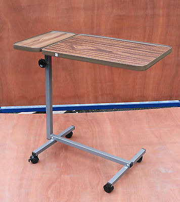 Deluxe Bed & Chair Overbed Table - Adjustable Height with 4 Castors