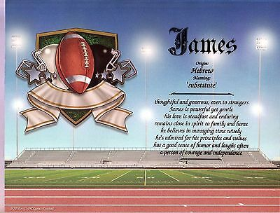 """Sports Football"" Name Meaning Print Personalized (Sports, Footbal)"