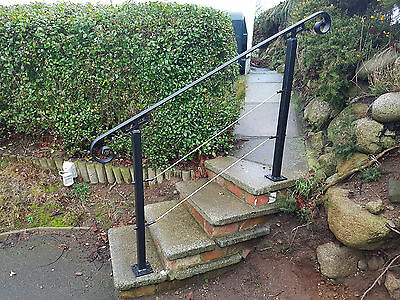 Wrought Iron Handrail Metal Bannister Stair Rail With  Stainless Steel Rope