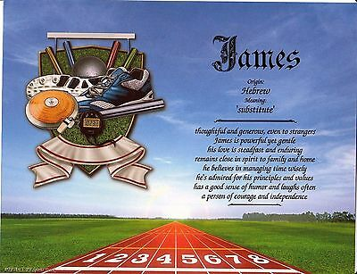 """Sports Track"" Name Meaning Print Personalized (Sports, Track, Running)"