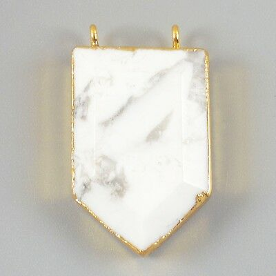 Shield Gold Plated White Howlite Turquoise Faceted Connector T019090