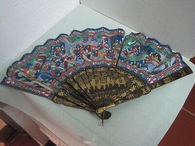 19 Th Century Chinese Fans  Of A Thousand Faces Lacquered Wood