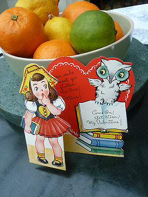Vintage 1960s Girl & Wise Owl Valentines Card from USA - freestanding