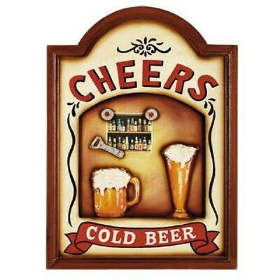 Ram R628 Wooden Cheers & Cold Beer Pub Sign 3D Art with FREE shipping