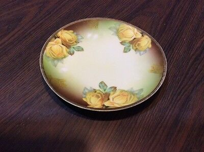 """Thomas Sevres Bavaria Hand Painted Yellow Roses Decorative  7.5"""" Plate"""
