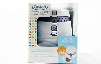 White Noise Sound Machine & Night Light Graco Sweet Slumber Soother NEW Open Box