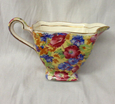 Royal Winton Royalty Ascot Creamer 6 Oz Florals Chintz Yellow Background