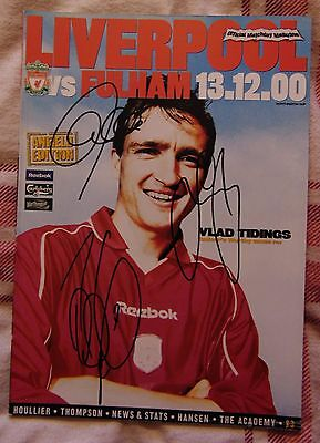 Liverpool V Fulham Official Matchday Programme 13/12/2000 - Signed X 3