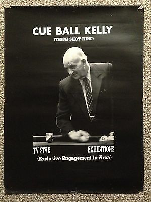Vintage Antique Cue Ball Kelly Trick Shot Artist Poster. 1970s