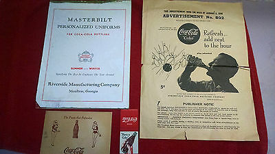 Coca-Cola 1950's-60's post card-uniform order forms-matchbook-full pg ad-bowling