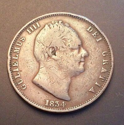 1834 WILLIAM IV HALFPENNY, Fine Collectable Condition. Heavy .