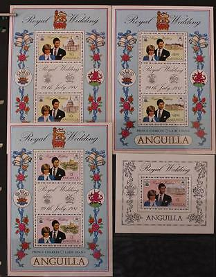 Royal Wedding 1981 Charles and Diana Anguilla Selection 14 Items MNH