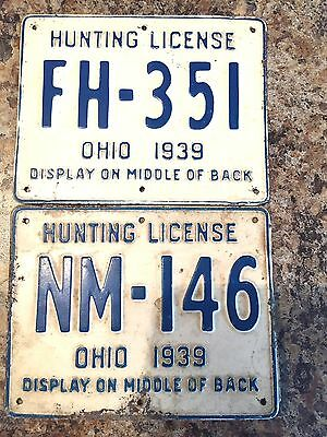 1939 Ohio Hunting / Trapping License-Vintage Metal License # NM-146 Rare Find