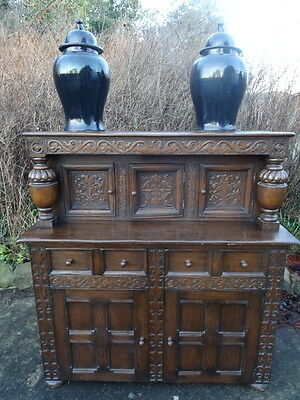King Charles Style Large Antique Country Farmhouse Carved Oak Court Cupboard