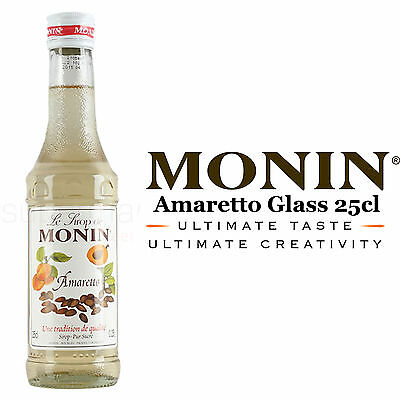 Monin Coffee Syrups - AMARETTO - 25cl Glass Bottle - AS USED BY COSTA COFFEE