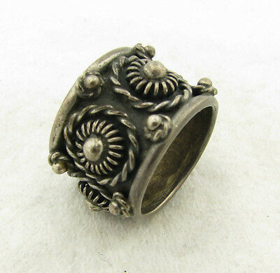 Vintage Mexico Taxco Signed Sterling Silver Etruscan Wide Band Ring Size 6