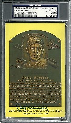Signed Carl Hubbell HOF Plaque PSA