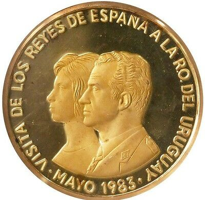 Uruguay, proof 2000 new pesos in Gold, 1983, proposed royal visit PF 66