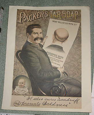 "1890's Litho Printed Ad Sign 11x14"" Packer's Tar Soap"