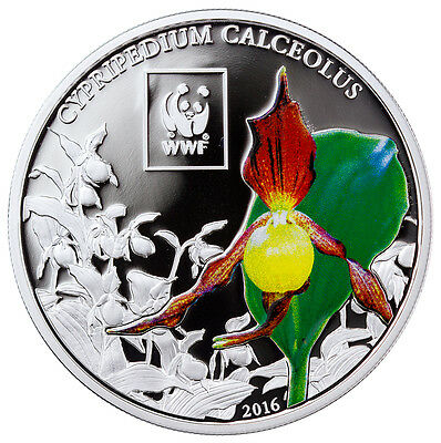 2016 Tanzania 100S Colorized Proof Silver-Plated WWF -Orchid (Mint Cap) SKU43538