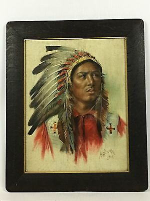 Antique 1906 A.H. SONN 100+ Year Old Native American Indian Warrior Framed Art