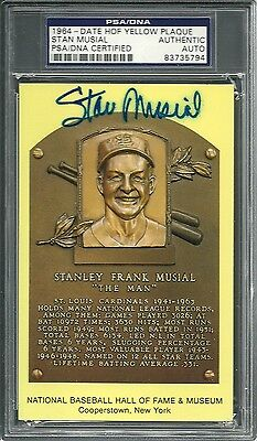 Signed Stan Musial HOF Plaque PSA