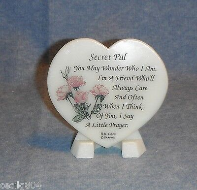 Valentines Day Gift Secret Pal  Heart Shaped Soapstone Plaque On Easel