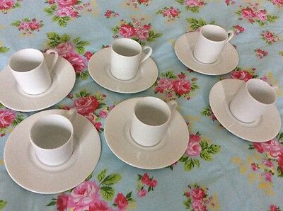 set of 6 fine china white espresso cups and saucers new