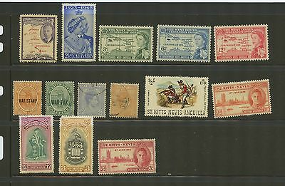 ST. KITTS--Accumulation of 14 stamps