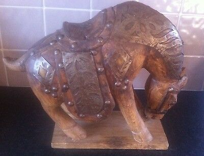 Rare Vintage Ornate Hand Carved Wooden Horse Figure With Brass & Metal Tack